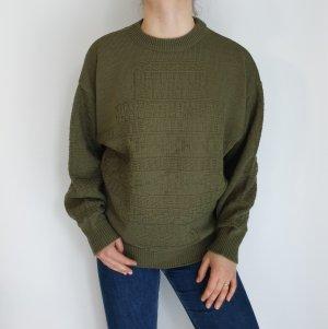 grün kaki wolle Cardigan Strickjacke Oversize Pullover Hoodie Pulli Sweater Top True Vintage
