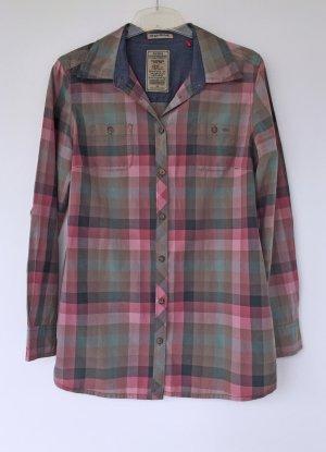 grün-rosa karierte klassische Bluse - Größe 40
