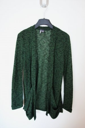 Grün-schwarz melierter Cardigan
