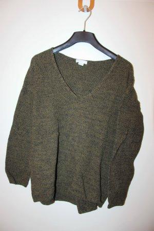Grün-schwarz melierter Pullover