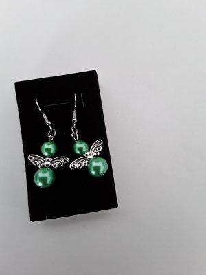 Kolczyk z perłą srebrny-zielony