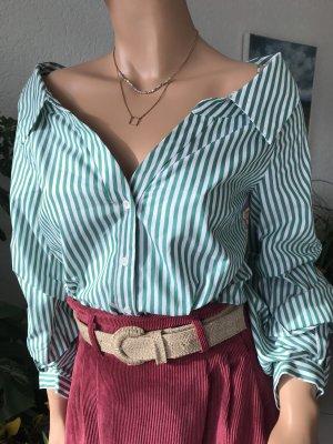 Grün/weiß gestreifte Bluse