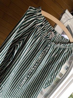 H&M Blusa alla Carmen verde-bianco