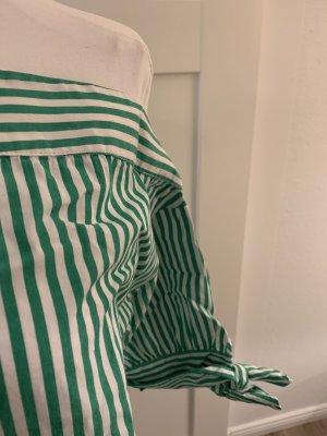 Grün-weiß gestreifte Bluse von edited, 36, asymmetrischer Ausschnitt