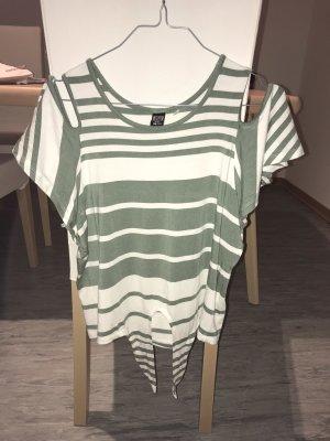 Blind Date Camicia cropped bianco-verde chiaro