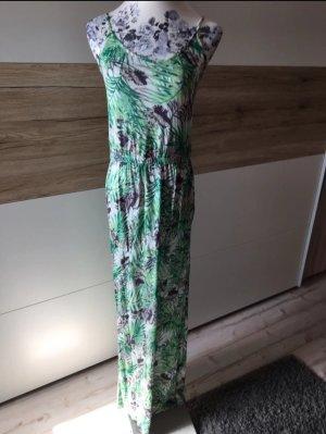 Grün weißes Maxikleid Palmen Blumen 36