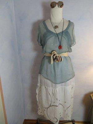 grünblau allover silber bestickte Noa Noa romantische Bluse - Gr. L - 100% Viskose - Boho Style