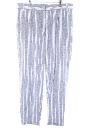 Grüne Erde Pantalón de lino azul-blanco estampado a rayas look casual