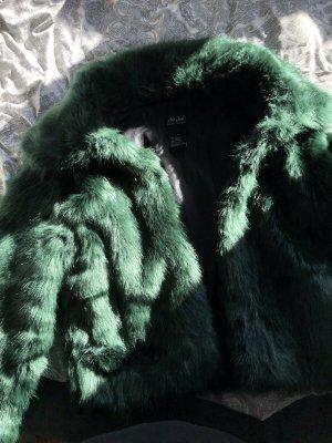 Giacca in eco pelliccia verde scuro-grigio-verde