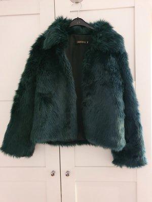 Lanshifei Giacca in eco pelliccia blu cadetto-verde
