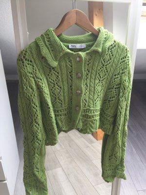 Zara Szydełkowany sweter zielony neonowy-zielony