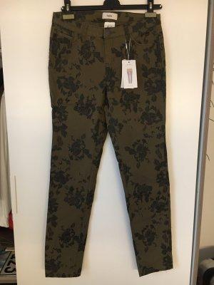 Heine Pantalon kaki gris vert-noir