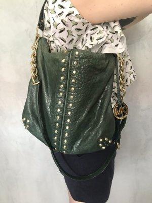 Grüne Michael Kors Leder Umhänge Tasche Stud Bag Goldene Nieten