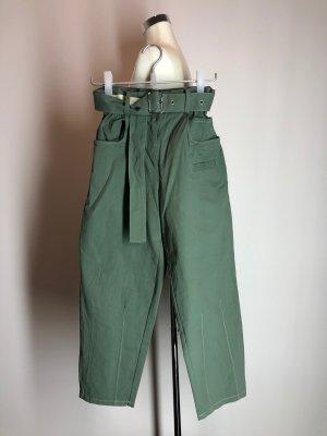 Spodnie z wysokim stanem khaki-jasnobeżowy