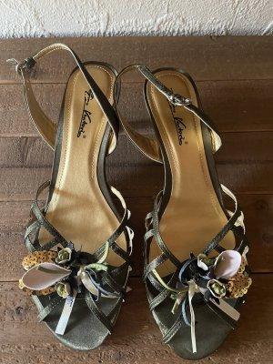 Gino ventori Zapatos de tacón con barra en T verde-color plata