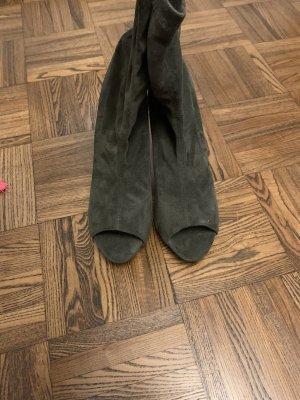 Peep Toe Booties ocher-green grey
