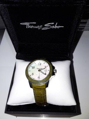 Thomas Sabo Reloj con pulsera de cuero verde oliva Cuero