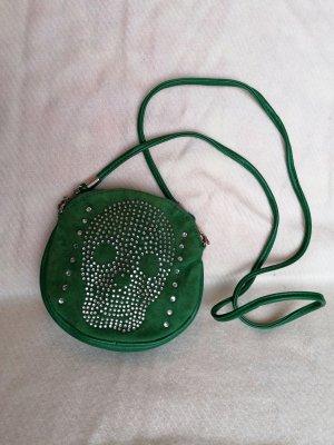 Grüne Totenkopftasche, Totenschädeltasche, Tasche Grün