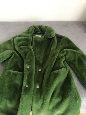Pull & Bear Fur Jacket forest green