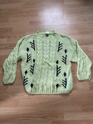 a&a Wełniany sweter jasnozielony-czarny