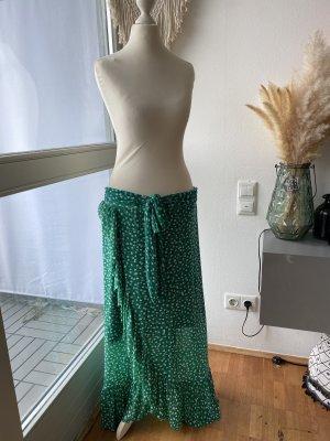 Asymetryczna spódniczka zielony-biały