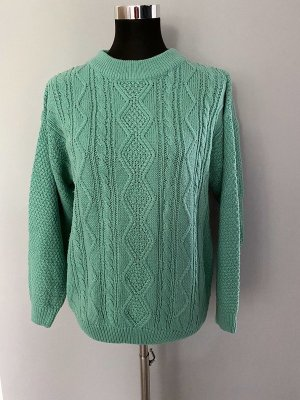 Coarse Knitted Sweater sage green-turquoise polyacrylic
