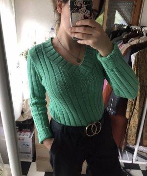 Vintage Pull col en V vert menthe-turquoise