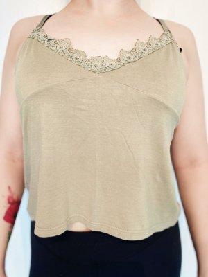 Grünes, bauchfreies Kleidungsstück / Oberteil / Shirt / Top für Damen / Frauen / Mädchen mit Herz-Ausschnitt