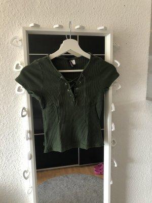 H&M Cropped shirt groen-olijfgroen