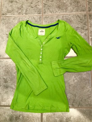Hollister Long Sweater neon green-blue cotton