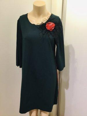 Grünes Kleid mit Galonstreifen , Gr. M , made  in Italy