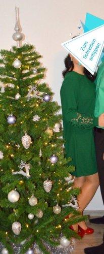 grünes langes Kleid mit Spitze H&M, langärmlig