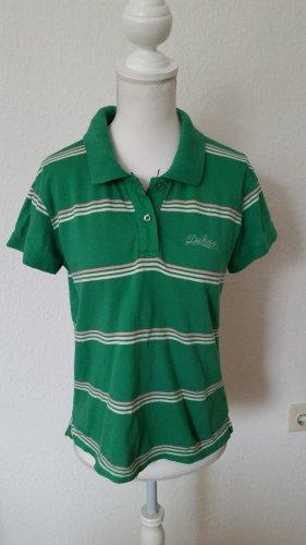 Grünes Poloshirt von Dickes mit weißen und rosafarbenen Streifen.