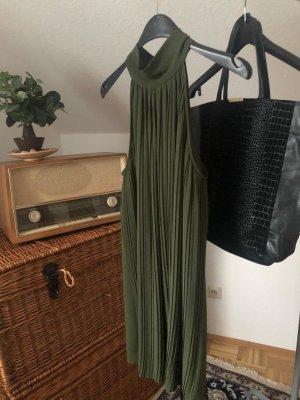 grünes schulterfreies Plissee Kleid gr.L