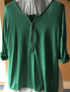 Grünes Shirt mit Reissverschluss