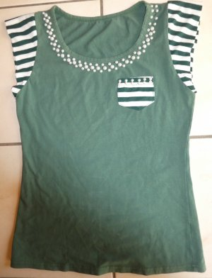 grünes T-shirt mit Perlenkragen Gr36