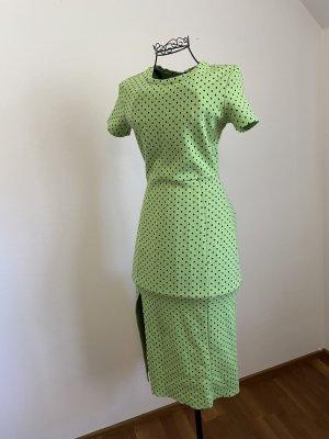 Grünes Zara Midi Kleid mit schwarzen Punkten