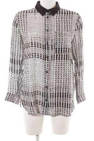 Gstar Langarm-Bluse weiß-schwarz abstraktes Muster Street-Fashion-Look