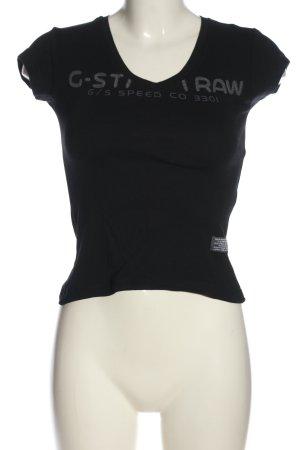 Gstar Print-Shirt schwarz Schriftzug gedruckt Casual-Look