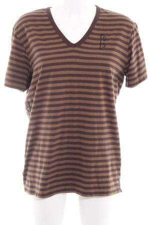 Gstar T-Shirt graubraun-dunkelbraun Streifenmuster Casual-Look