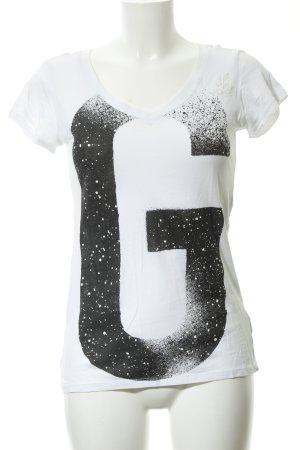 Gstar T-Shirt weiß-schwarz Motivdruck sportlicher Stil