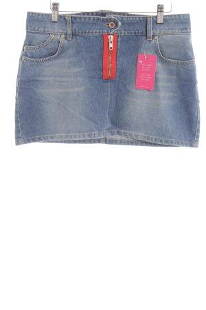 Gsus Minirock kornblumenblau Schriftzug gedruckt Street-Fashion-Look