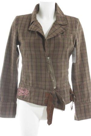 Gsus Between-Seasons Jacket brown-pink check pattern casual look