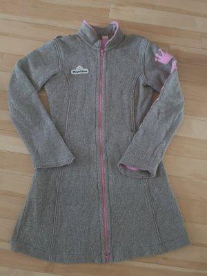 Gsus Cappotto in lana marrone-grigio-rosa chiaro