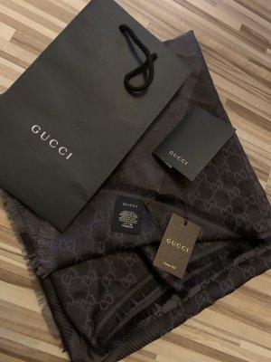Gucci Sciarpa di seta antracite-grigio scuro