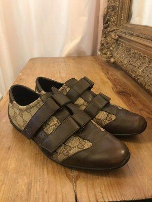 Gucci Sneaker Hook-and-loop fastener Sneakers cream-black brown