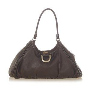Gucci Shoulder Bag dark brown leather