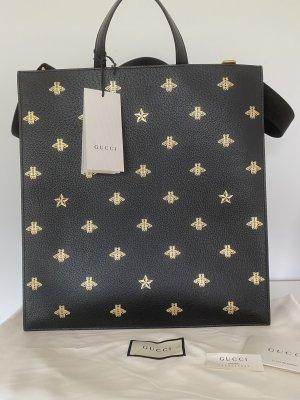 Gucci Shopper zwart-goud Oranje Leer