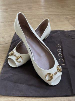 Gucci Peep Toe Ballerinas cream-gold-colored