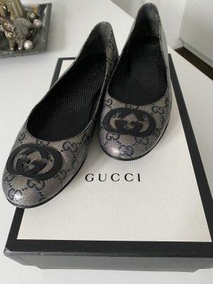 Gucci Ballerina di pelle verniciata nero-bronzo